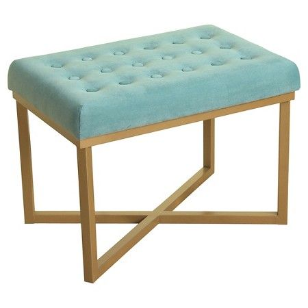 Stupendous Rectangle Ottoman Velvet Tufted Cushion And Gold Metal X Bralicious Painted Fabric Chair Ideas Braliciousco