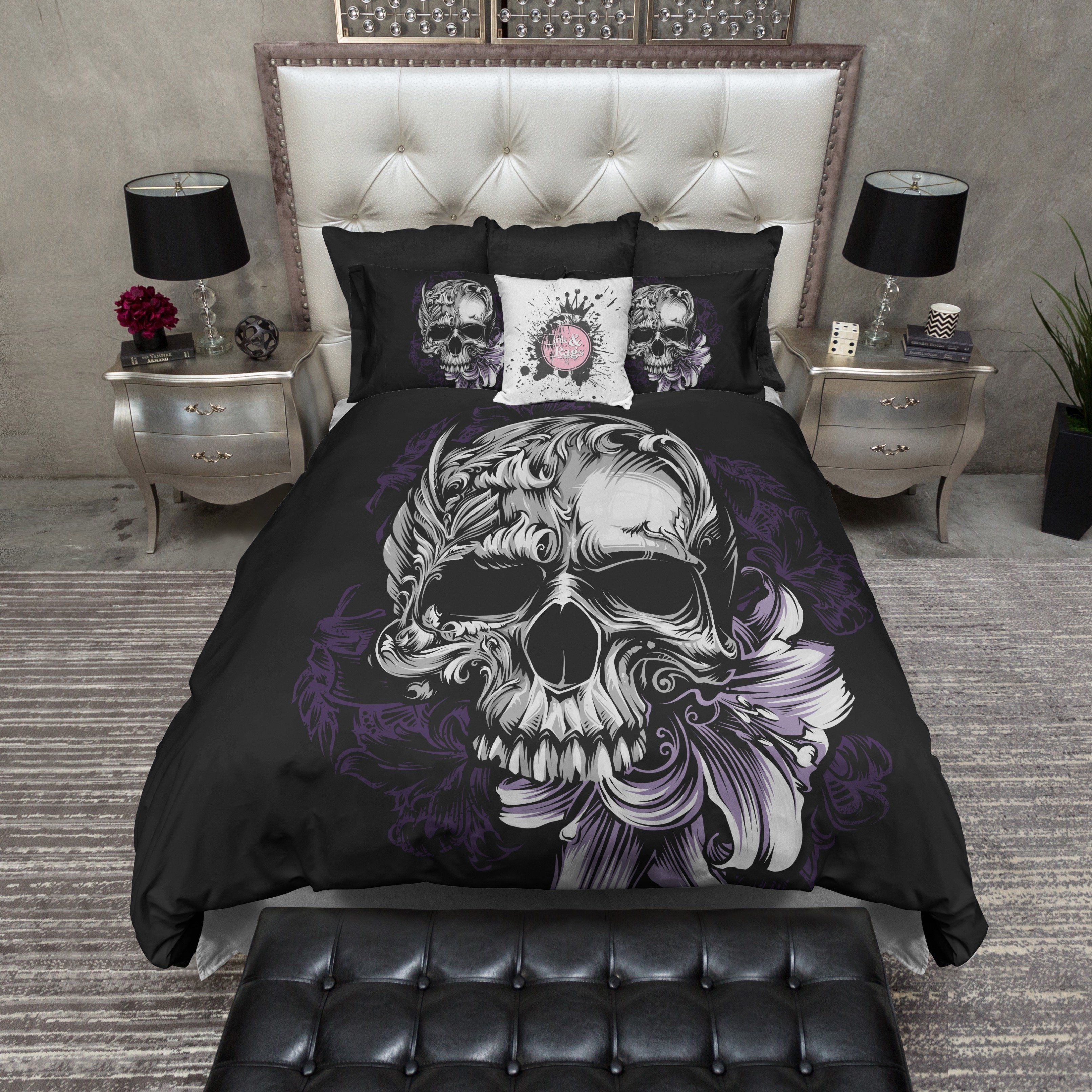 Purple Stargazer Lily Skull Bedding Duvet Bedding Sets Bedding