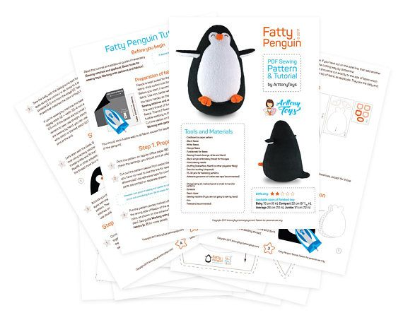 Fatty Penguin sewing pattern PDF soft Penguin template for PDF - penguin template
