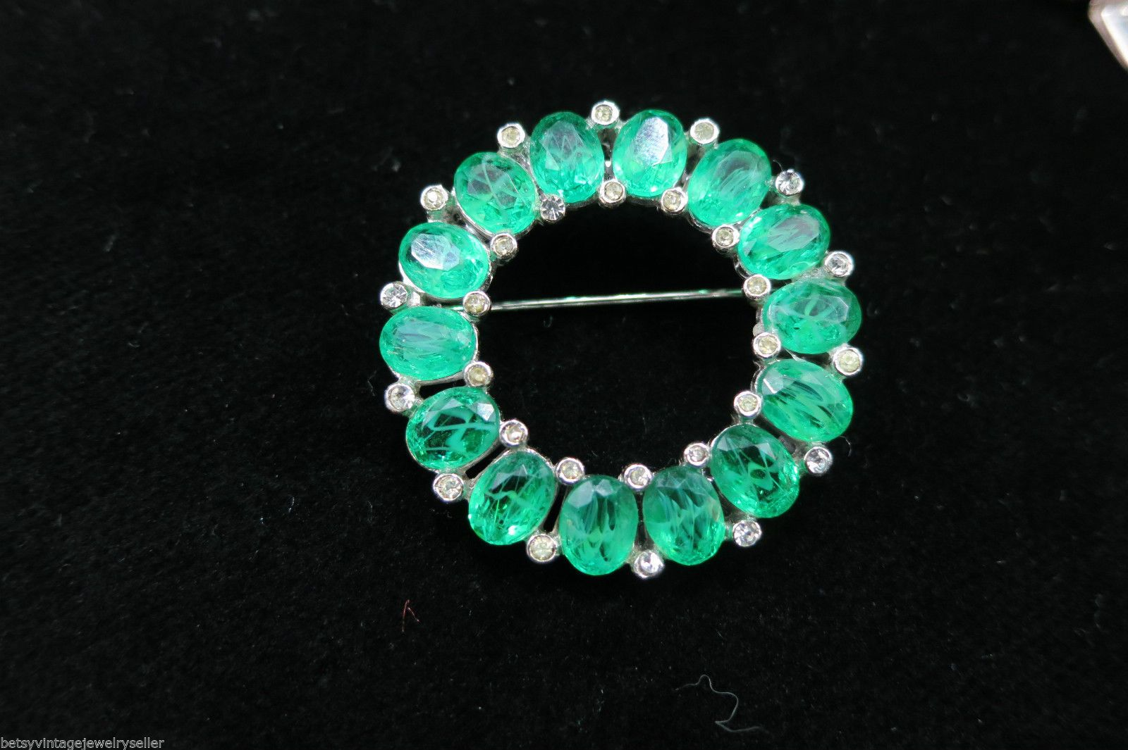 "Ciner ""Flawed"" Emerald Glass Stone & Pave Bracelet, Pin & Clip-On Earrings in Jewelry & Watches, Vintage & Antique Jewelry, Costume, Designer, Signed, Sets 