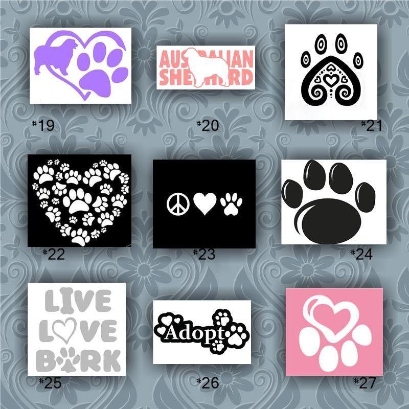Australian shepherd vinyl decals 19 27 car window stickers paw prints vinyl stickers dog stickers pet stickers