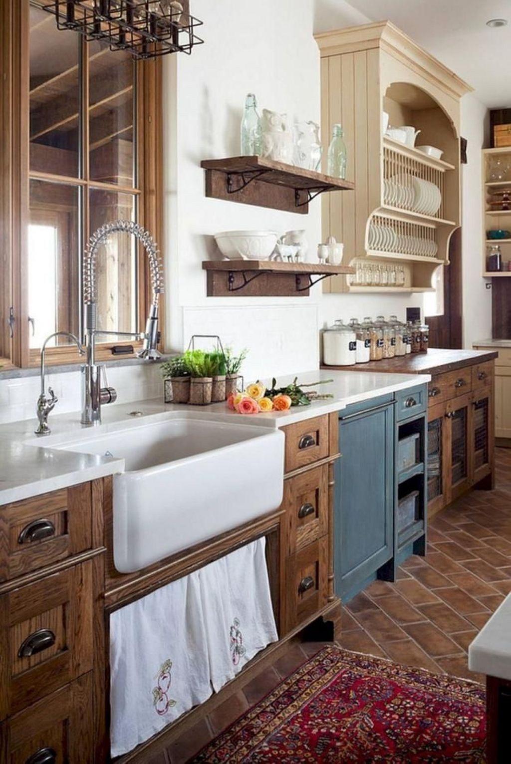 Stunning Rustic Farmhouse Kitchen Cabinets Ideas 09 Farmhouse