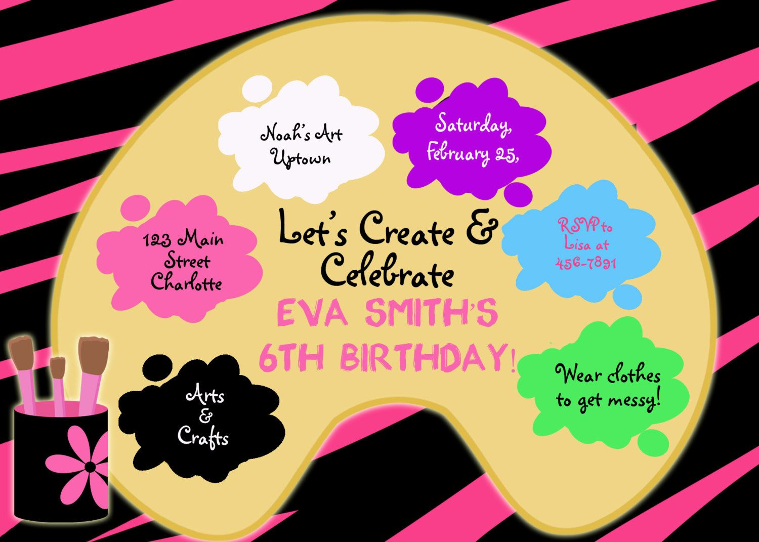 Paint party birthday invitation -- art party - arts and crafts
