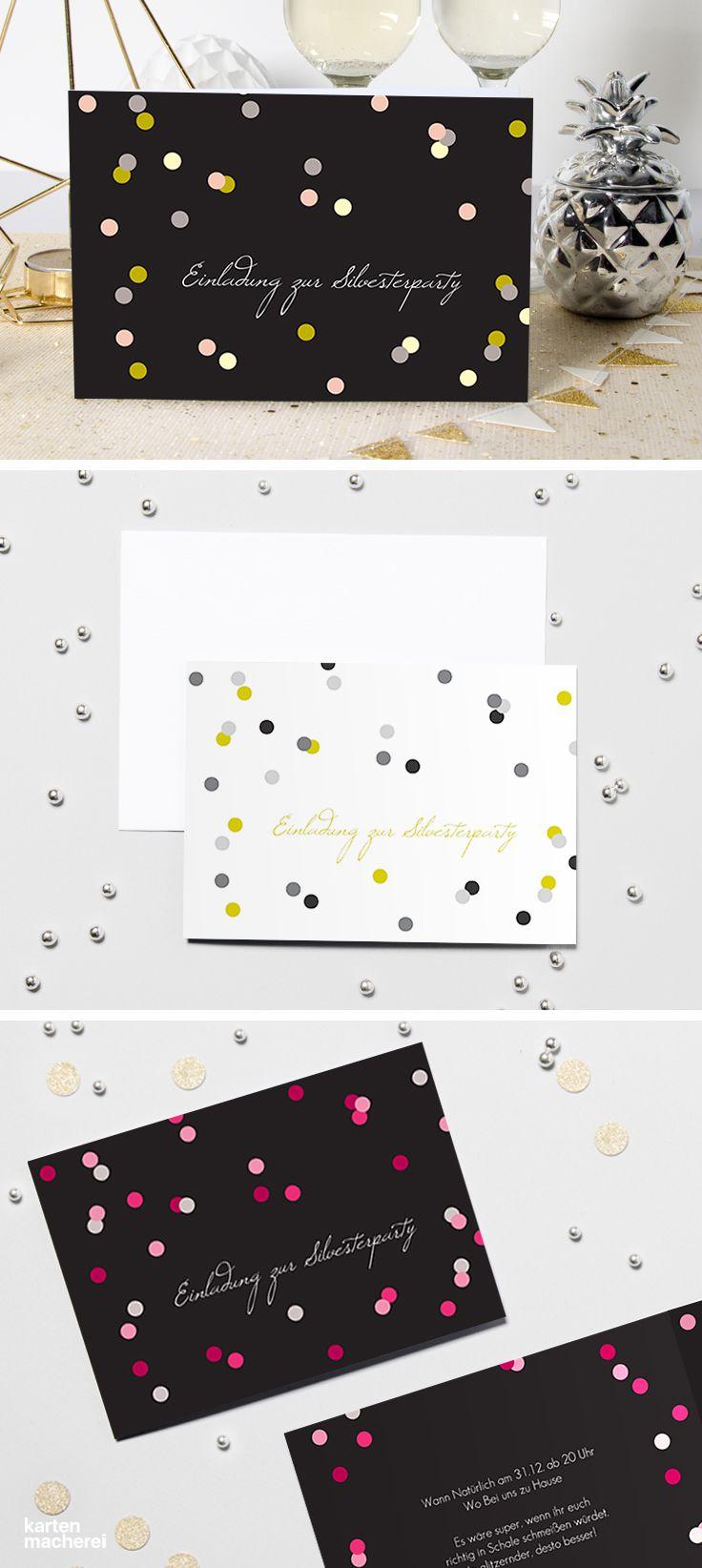 Partyeinladung punktvoll einladungskarten partyeinladung papeterie karten silvester kartenmacherei