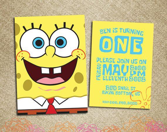 Birthday Invitation Spongebob Squarepants 10 00 Via Etsy Spongebob Party Kids Invitations Spongebob Birthday