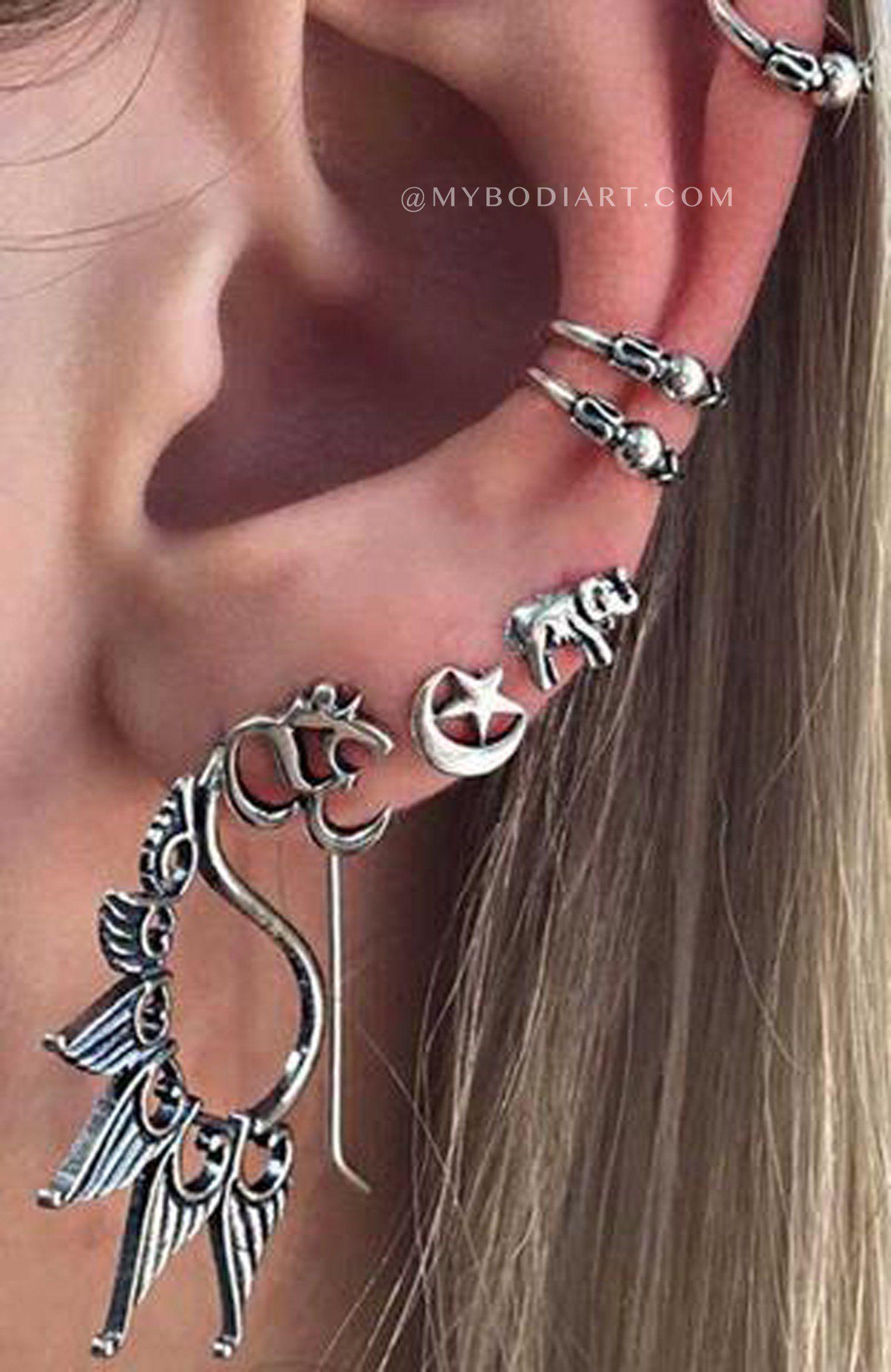 Lakota tribal antiqued silver ear cuffs u earrings pieces set in