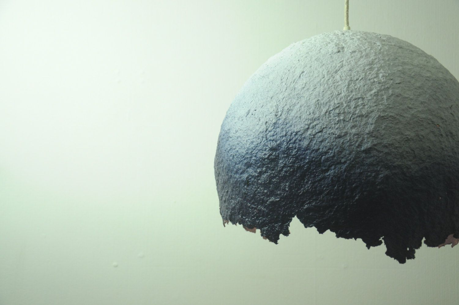 Paper mache lamp - hanging lamp - industrial pendant lamp - paper lamp - indigo blue ombre - dip-dyed - recycled lamp - eco friendly - lamp by RoughHandsTheHague on Etsy