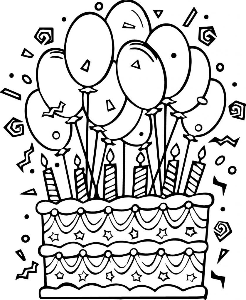 Happy Birthday Coloring Pages Simple and Hard in 2020