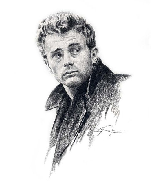 JAMES DEAN Movie Art Print by Artist DJ Rogers | Etsy