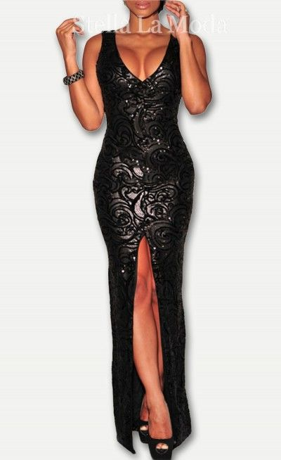5f96add94fbc6 Black Sequined Front Slit Padded Maxi Gown | Fashion | Maxi gowns ...