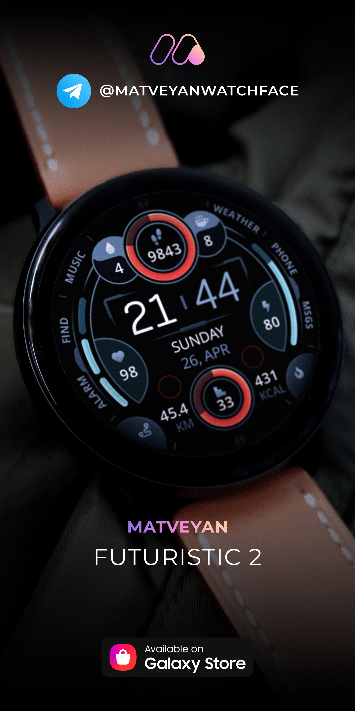 Futuristic 2 Clean Informer Gradient Colors Multilingual Watch Face For Samsung Watch In 2020 Samsung Watches Watch Faces Samsung