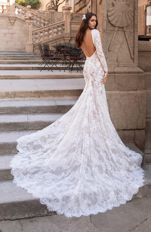 Pronovias Telesto Backless Long Sleeve Lace Sheath Wedding