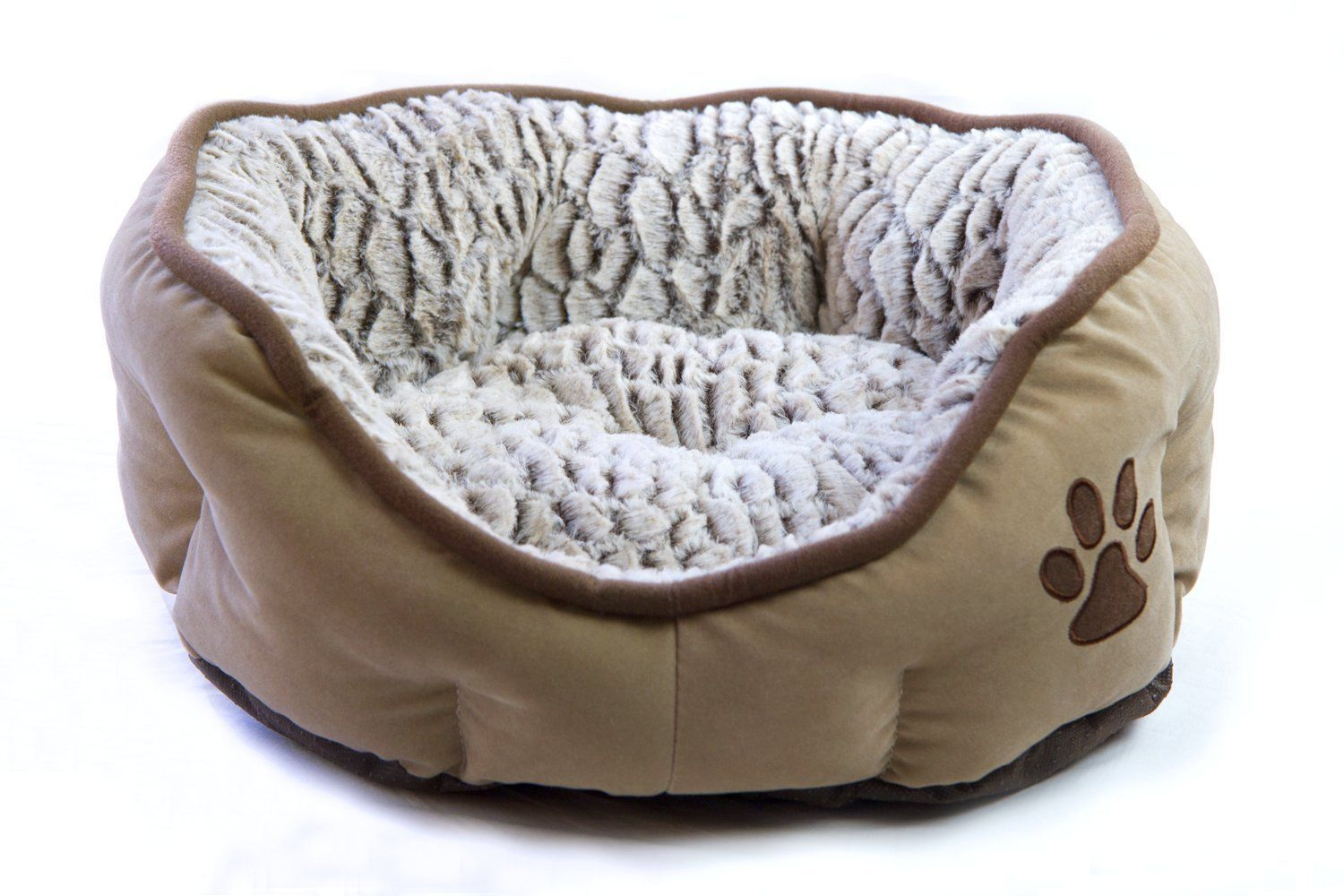 Plush Pet Bed Cat Or Dog Bed Deluxe Faux Fur Cuddler Bolster