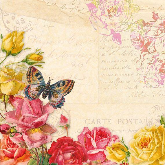 4 Servietten ~ Romantische Schmetterlinge Butterfly  basteln Decoupage
