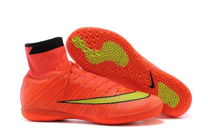 Nike Futsal Shoes  Yellow And White High Tops