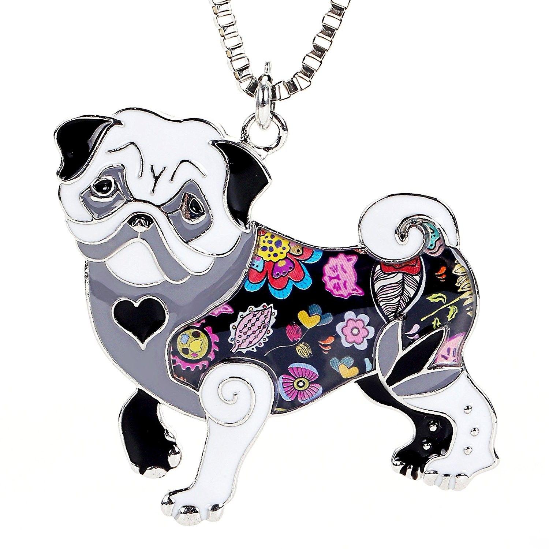 Pug pendant necklace for women handmade unique enamel puppy pet gift