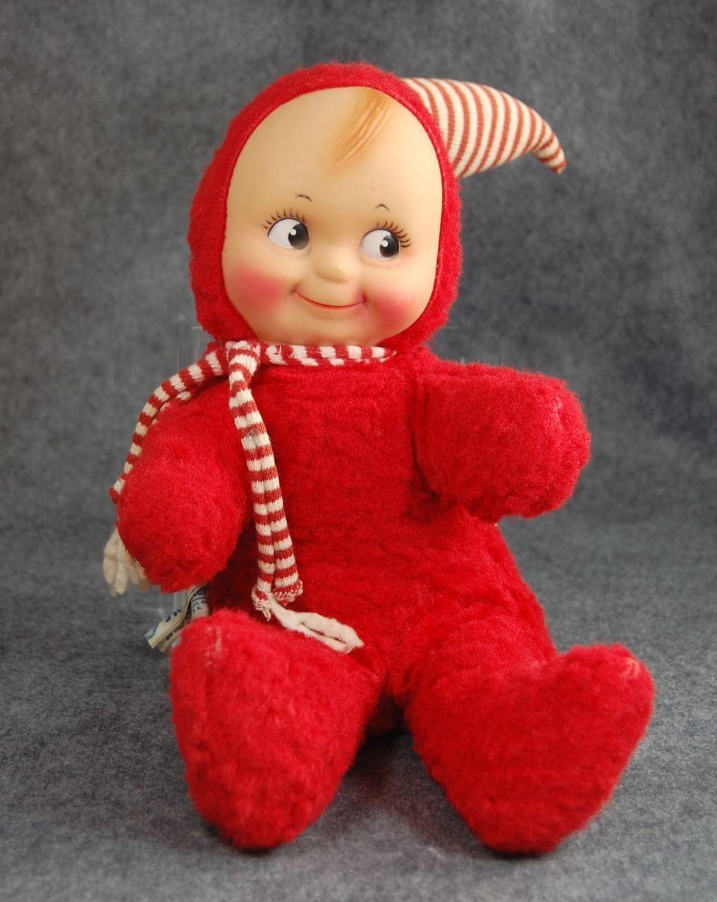 Knickerbocker Kewpie Doll Vinyl Face Red Plush Musical 12