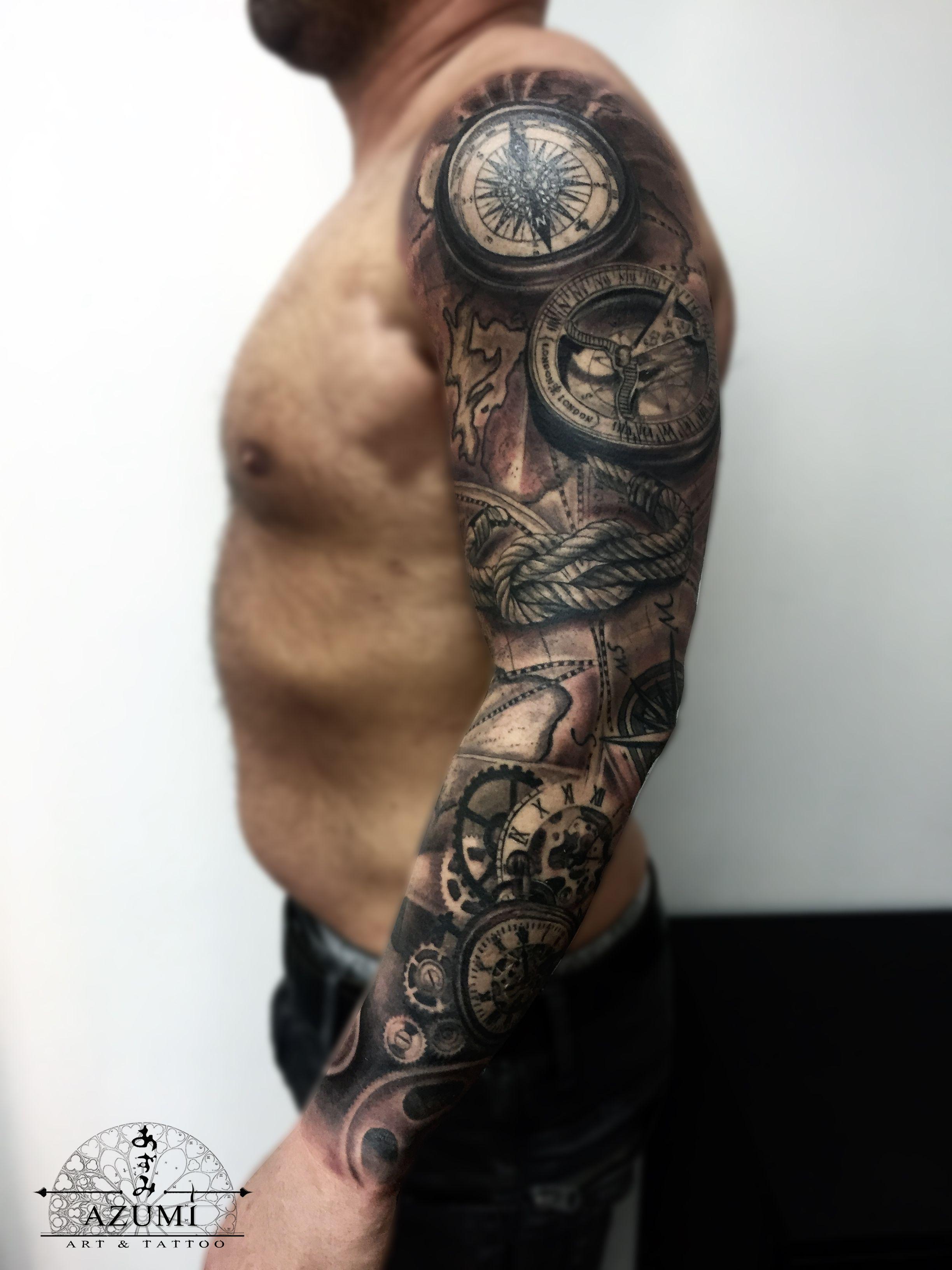 Compass Map Sleeve Tattoos Best Sleeve Tattoos Tattoo Sleeve