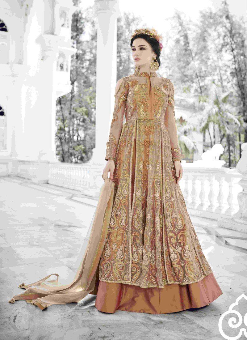 Indo western designer pastel brown salwar suit long dress