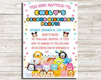 9f34d3374f34f494f62a7f61671c5780 tsum tsum birthday party invitation ticket style you print digital,Tsum Tsum Invitation