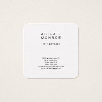 Linen Modern Minimalist Professional Plain White Square Business Card