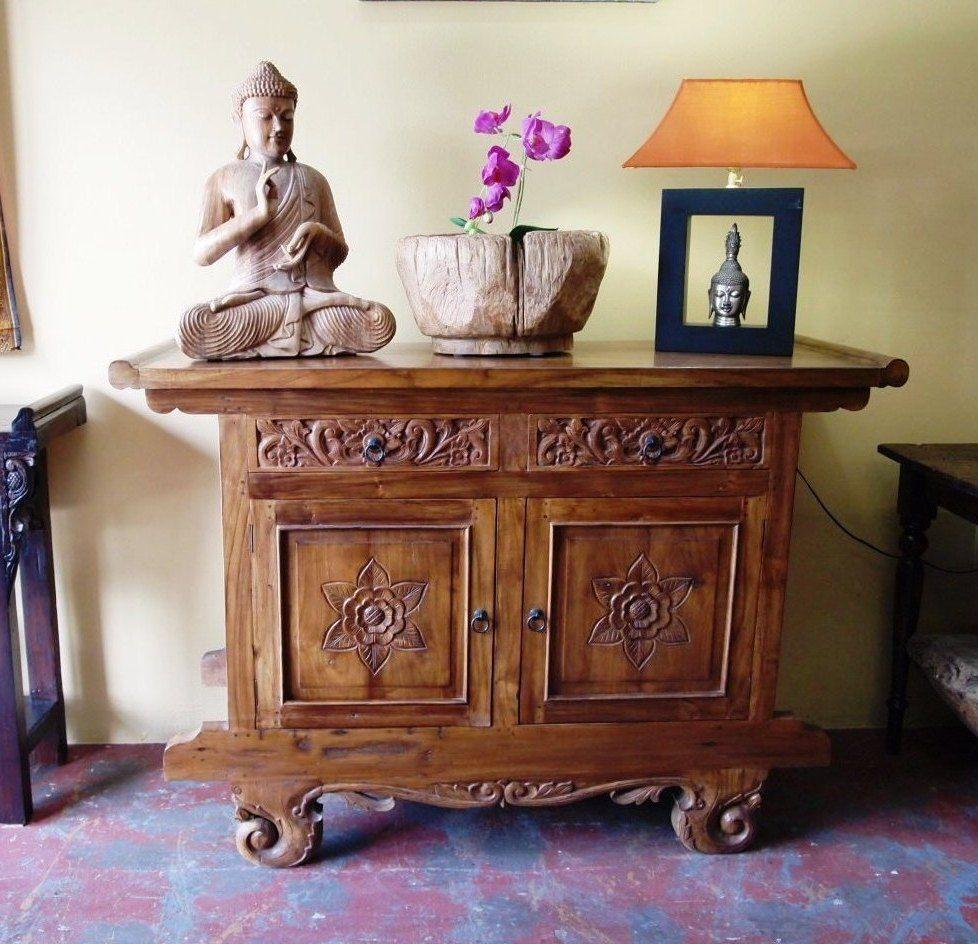 Carved Indonesian Console Cabinet | Gado Gado