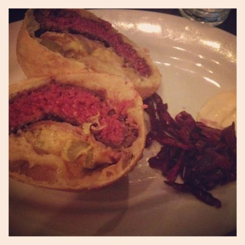 Burger inside fired Hungarian bread at Korzo Haus :: NYC Living