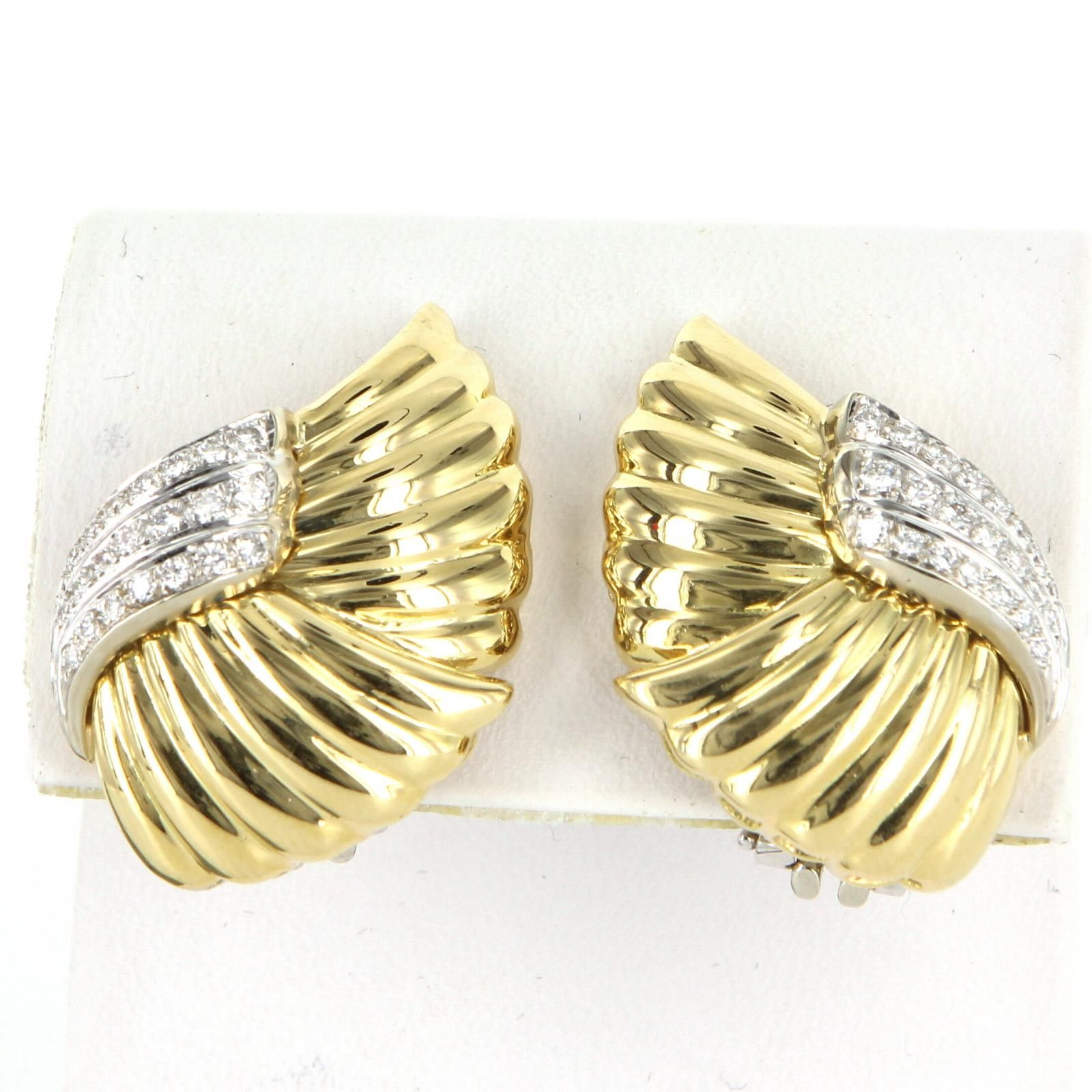 Vintage 1ct Diamond Clip Cocktail Earrings 18 Karat Yellow Gold Estate Fine Jewelry
