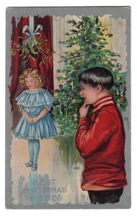 Boy Watching Girl in Blue Dress Stand Underneath Mistletoe~Christmas