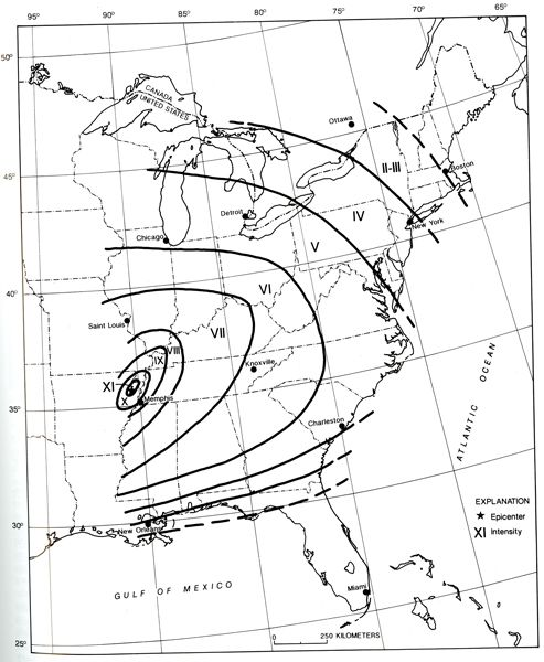 Isoseismal Map For The Arkansas Earthquake Of December 16 1811