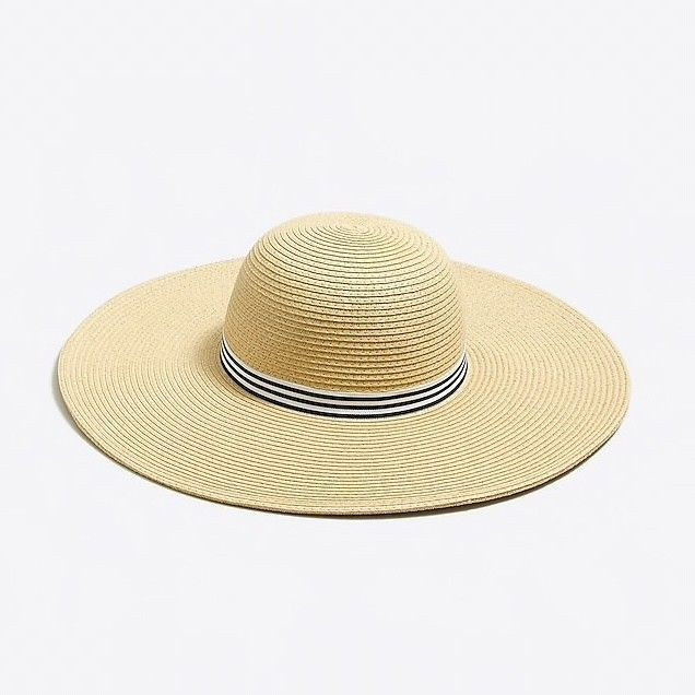 dc728e17a5d j. crew classic straw hat with ribbon  fashion  clothing  shoes  accessories