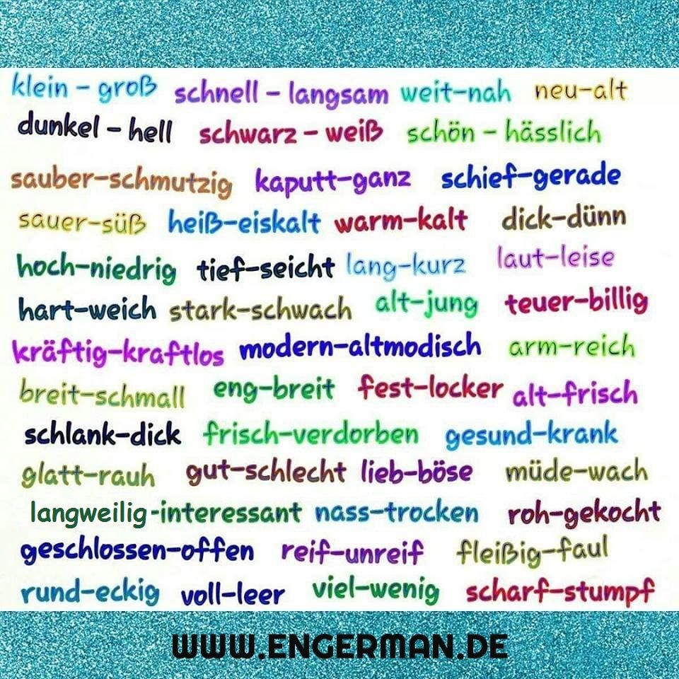 Antonyme | Alemão | Pinterest | German, Learn german and Deutsch