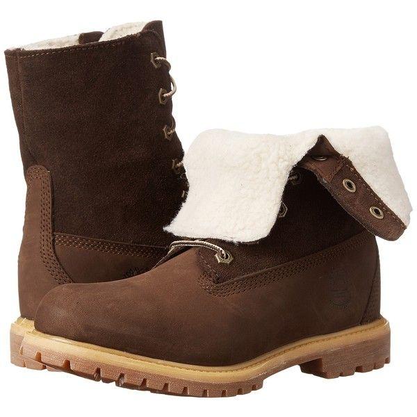 Womens Boots Timberland Authentics Teddy Fleece Fold-Down Dark Brown Nubuck