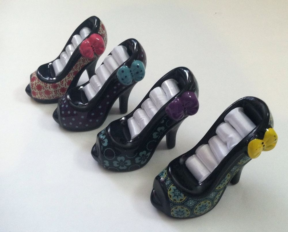 85da835568b3 4 New High Heel Shoe Ring Holder Display Ceramic Organizer Holds 24 Rings