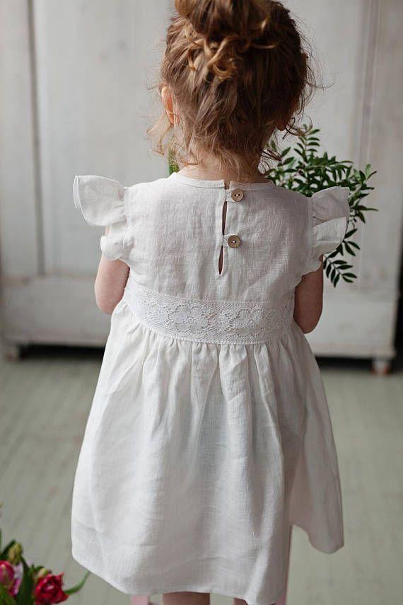 White flower girl dress, White Girls dress, Summer linen
