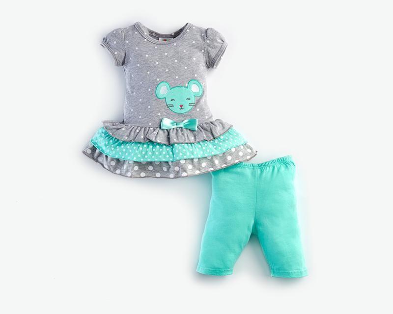 Conjunto Con Malla Baby Colors Verde Ropa Bebe Ropa Para Ninas Ropa