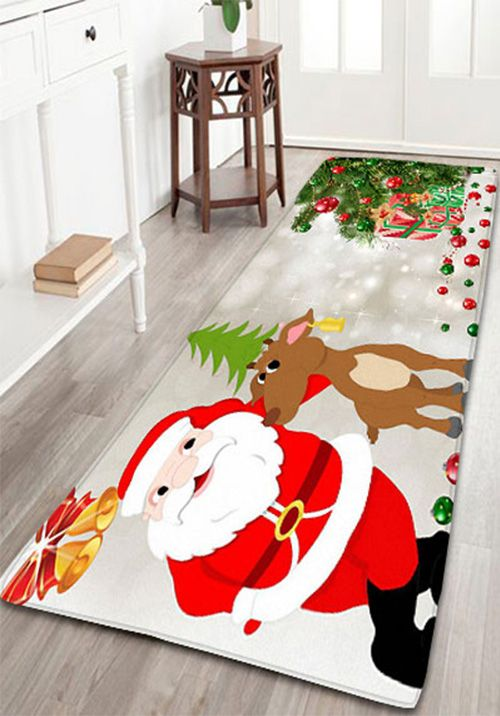 Christmas Deer Santa Claus Print Flannel Skidproof Bath Mat - Quality bathroom rugs for bathroom decorating ideas