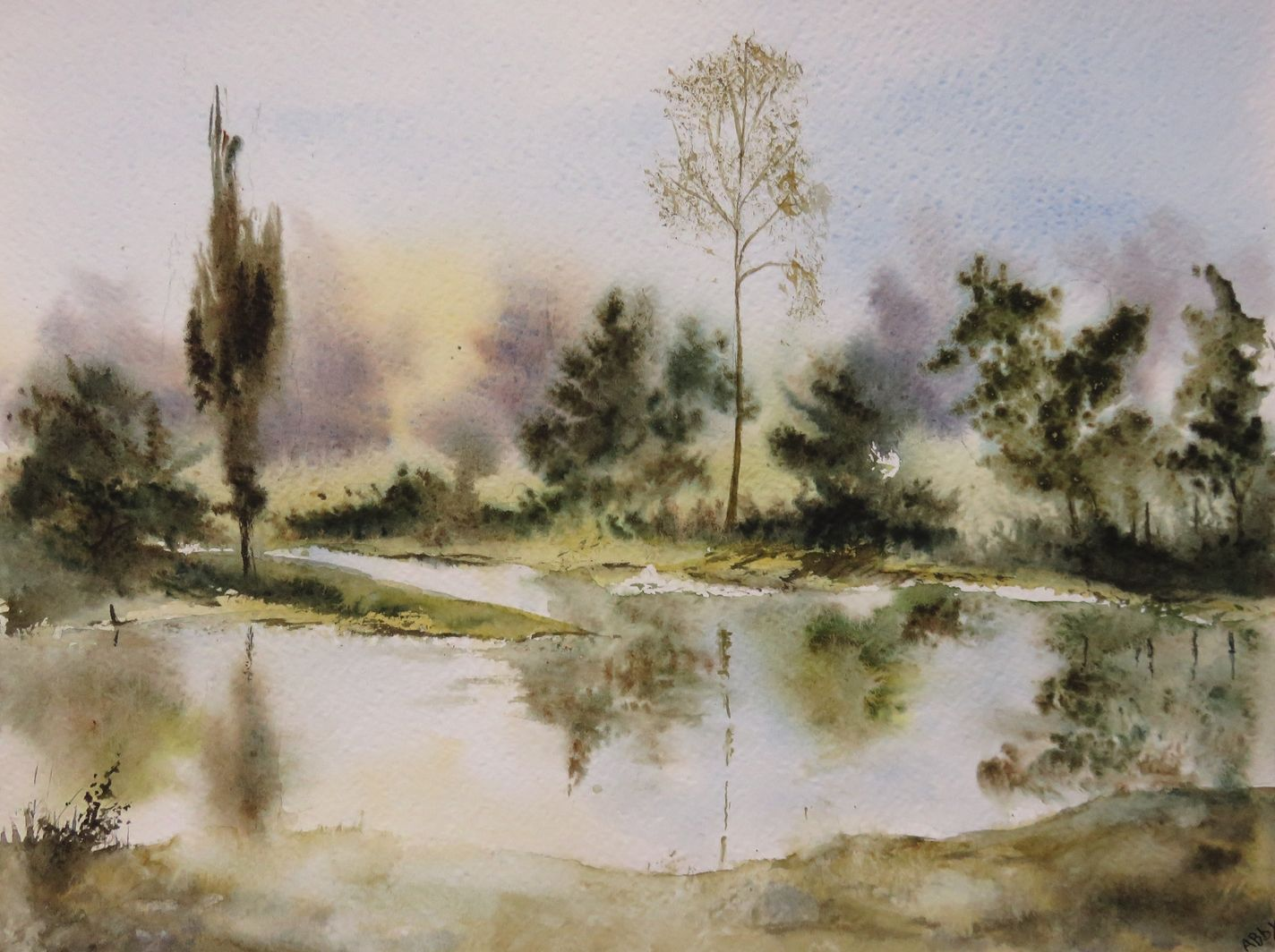 Miroir D Eau Aquarelle 23 X 31 Cm Art Watercolor Art