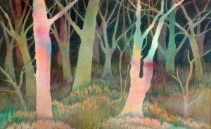 paperbark trees, Botanic Gardens, 2013, Wendy Shortland, reverse watercolour, Sydney, Australia.