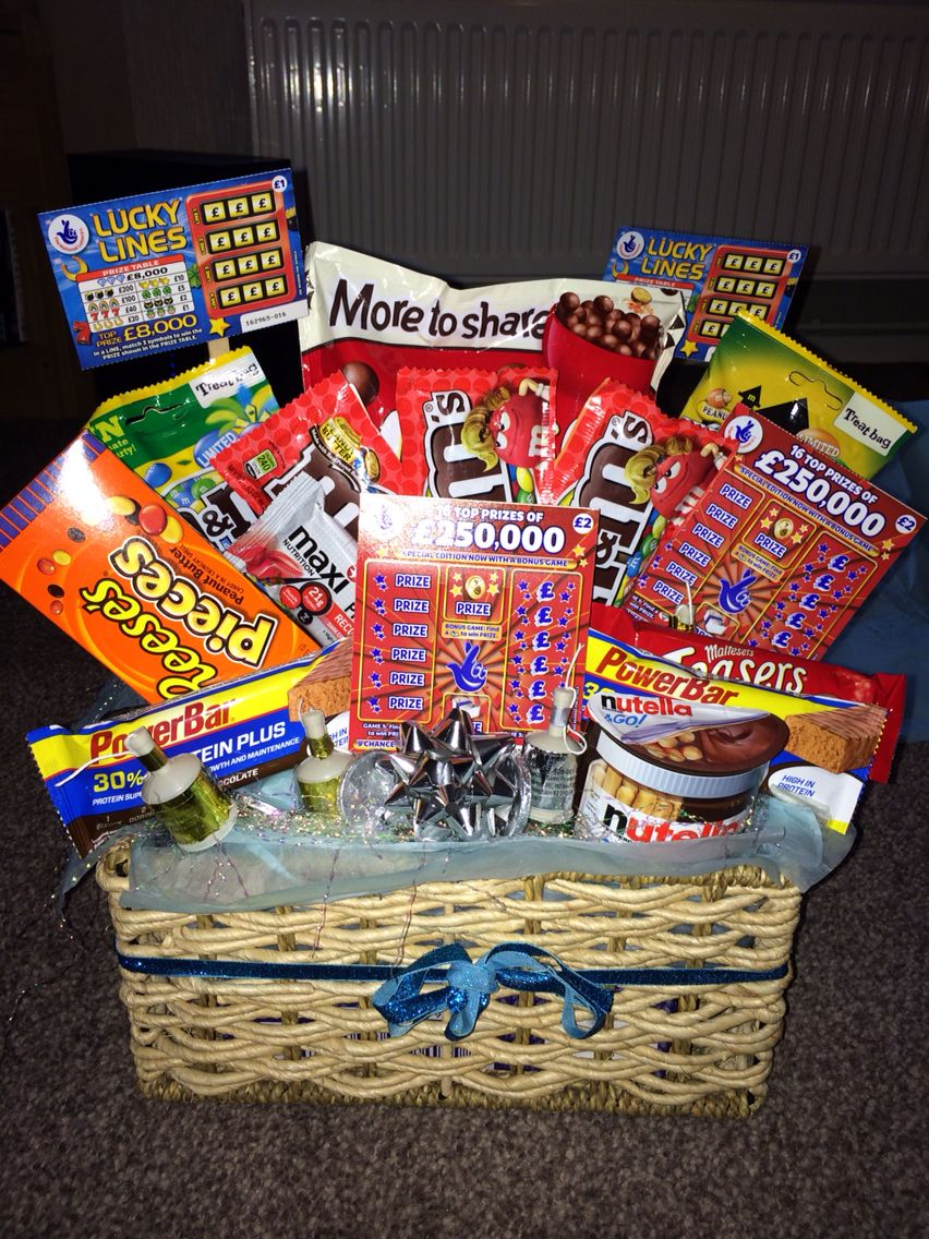 61f7164542b47 Boyfriend hamper i made for boyfriends birthday. Full of his favourite  sweets