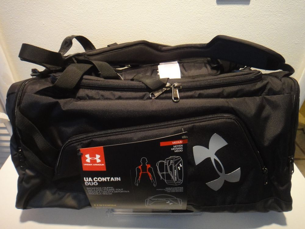 67c132a8 Under Armour Contain DUO BackPack Duffle Bag Color Black & silver ...