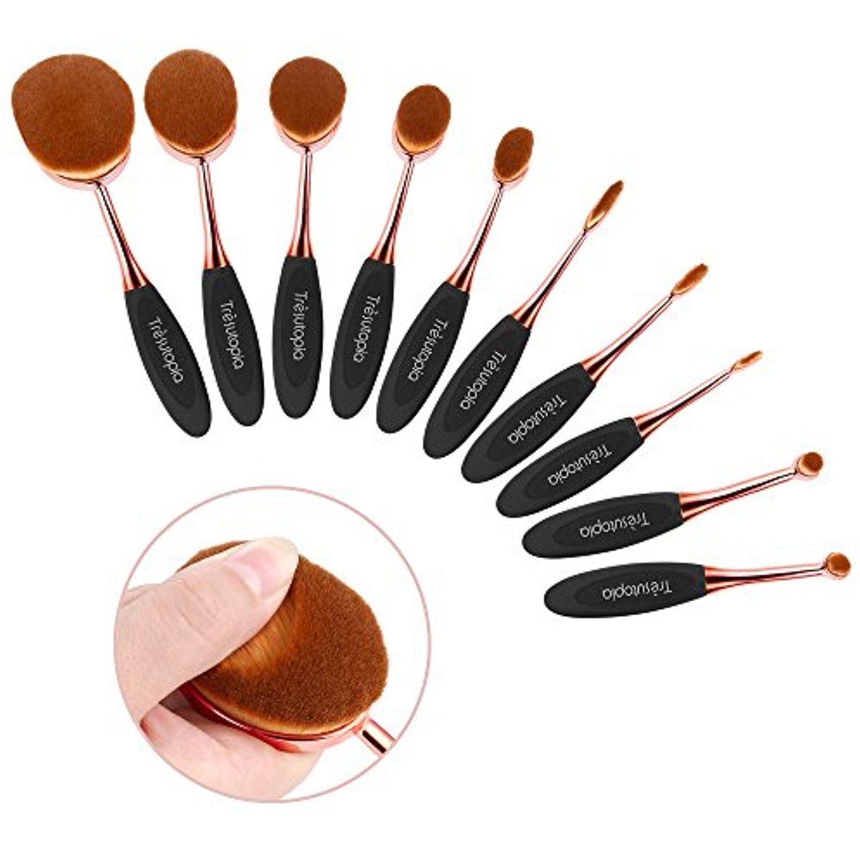 Trèsutopia Lacaresse Oval Makeup Brush Set, 10 Pieces