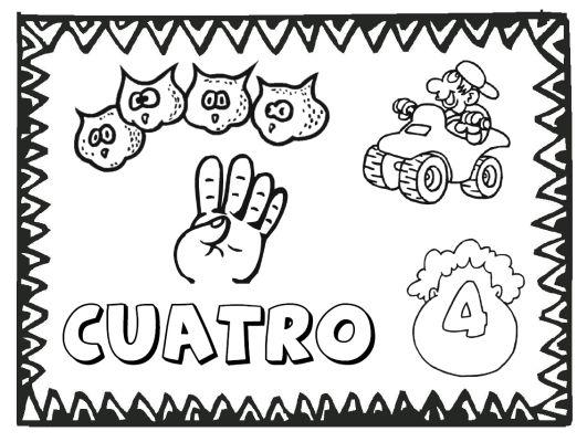 FREE numbers 1 to 12 in Spanish coloring pages from