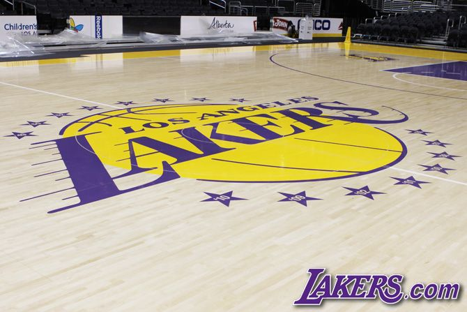 The New Lakers Court Los Angeles Lakers Lakers Basketball Court Flooring Lakers Stadium