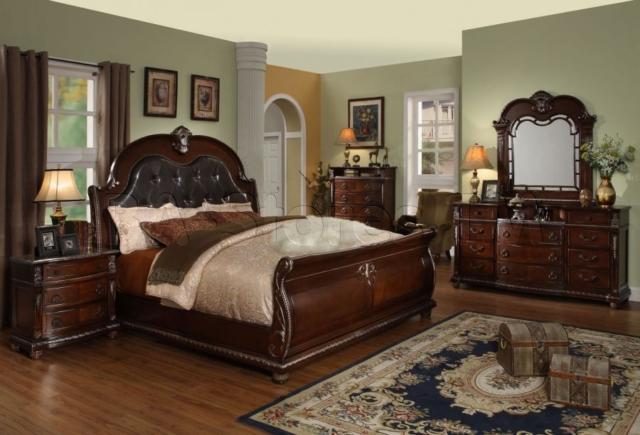 palazzo 5 pc bedroom set with marble tops (bed, 2 nightstands