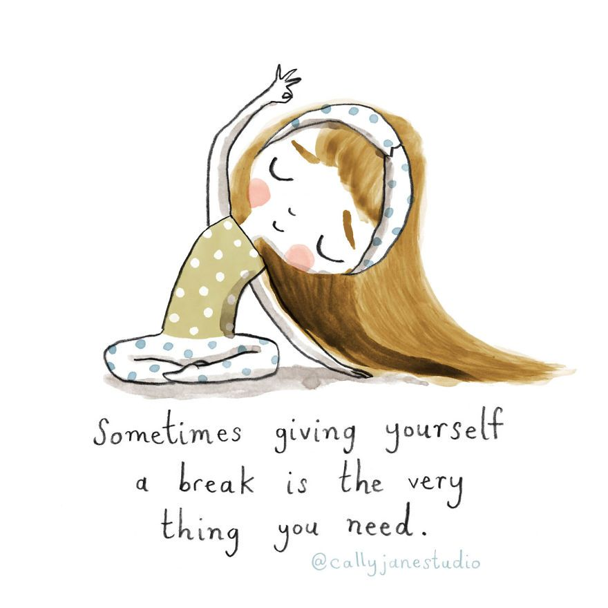 I Draw A Little Yoga Girl With Positive Messages To Remind Myself Of Self-Love And Self-Care (38 Pics)