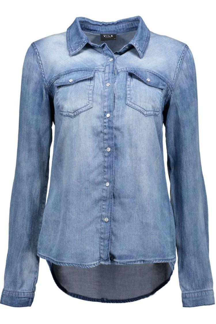 d521b3a925e7f0 ViBista Denim Shirt 14033008 Vila Blouse Blouses online shop - Dames blouse  | Sans-online