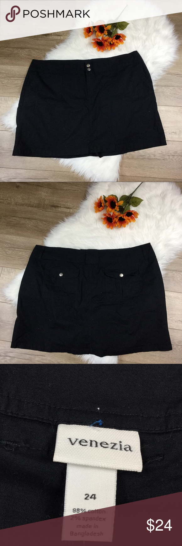 Venezia black short with pockets Is it a skirt, or a pair of shorts? It's both! Combine the look of a skirt with the comfort of shorts. Black light weight cotton material, size 24 skirt from Venezia. Has open front pockets and back putting closure pockets. Measurements available in photos posted. Bundle with any other item in my closet to save 20%! Venezia Shorts Skorts