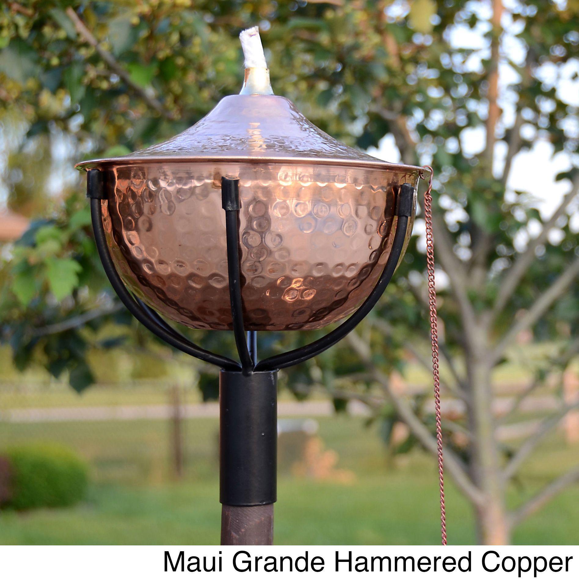 Maui Grande Garden Torches Set Of 2 Hammered Copper