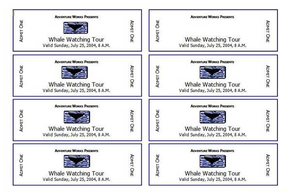 Microsoft Word Ticket Template Printable Free Raffle Templates